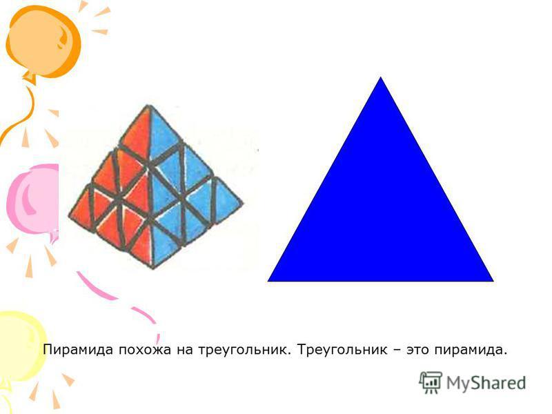 Пирамида похожа на треугольник. Треугольник – это пирамида.