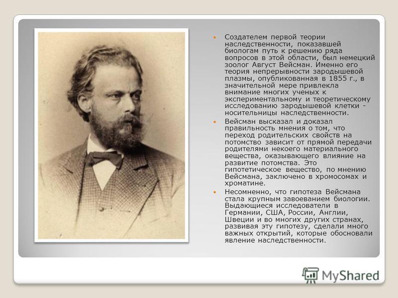 Создателем первой теории наследственности, показавшей биологам путь к решению ряда вопросов в этой области, был немецкий зоолог Август Вейсман. Именно его теория непрерывности зародышевой плазмы, опубликованная в 1855 г., в значительной мере привлекл