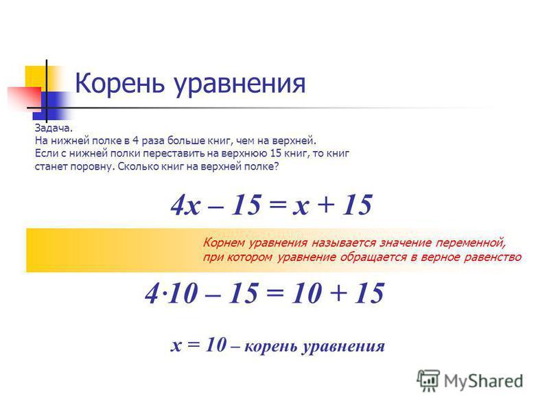 Корень уравнения Задача. На нижней полке в 4 раза больше книг, чем на верхней. Если с нижней полки переставить на верхнюю 15 книг, то книг станет поровну. Сколько книг на верхней полке? 4 х – 15 = х + 15 Корнем уравнения называется значение переменно