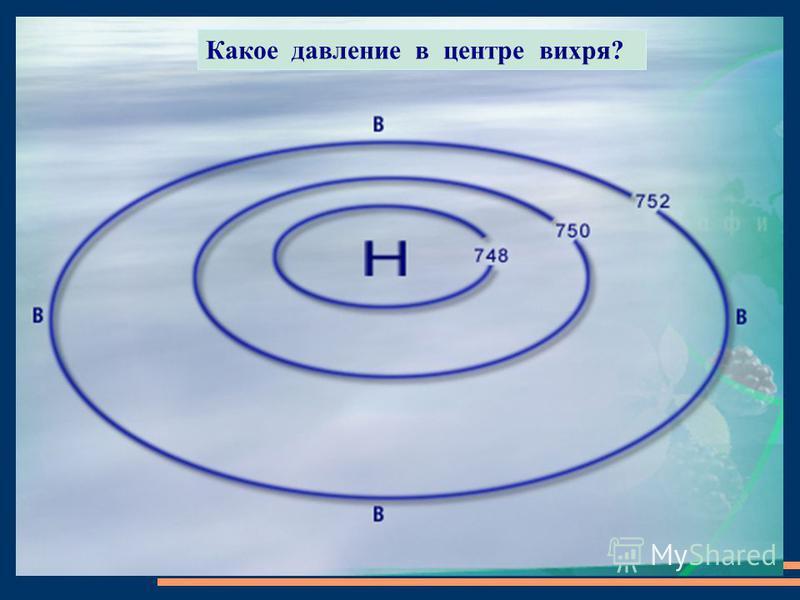Какое давление в центре вихря?