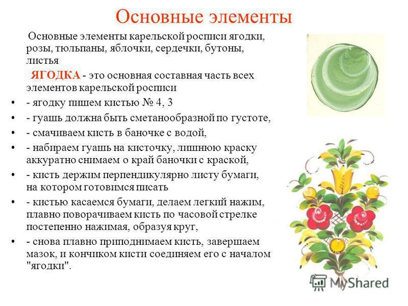 Основные элементы Основные элементы карельской росписи ягодки, розы, тюльпаны, яблочки, сердечки, бутоны, листья ЯГОДКА - это основная составная часть всех элементов карельской росписи - ягодку пишем кистью 4, 3 - гуашь должна быть сметанообразной по