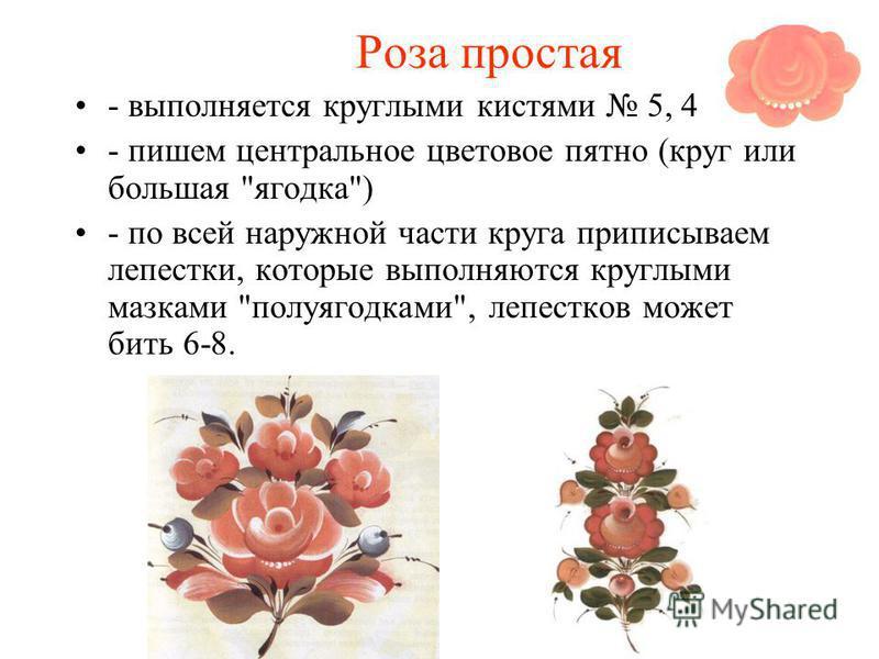 Роза простая - выполняется круглыми кистями 5, 4 - пишем центральное цветовое пятно (круг или большая ягодка) - по всей наружной части круга приписываем лепестки, которые выполняются круглыми мазками полуягодками, лепестков может бить 6-8.