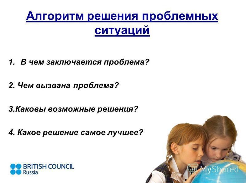 Алгоритм решения проблемных ситуаций 1. В чем заключается проблема? 2. Чем вызвана проблема? 3. Каковы возможные решения? 4. Какое решение самое лучшее?