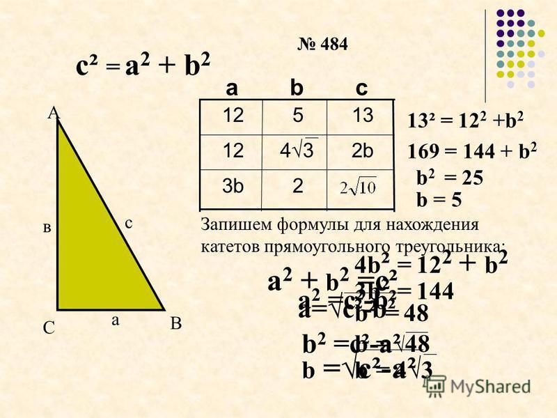 с² = а 2 + b 2 а в с С А В 484 23b 2b12 13512 cbа 13² = 12 2 +b 2 169 = 144 + b 2 b 2 = 25 b = 5 4b ² = 12 2 + b 2 3b ² = 144 b ² = 48 b = 48 b = 43b = 43 4343 а 2 + b 2 =c² а 2 =c²-b² b 2 =c²-a² а=c²-b² b =c²-a² Запишем формулы для нахождения катето