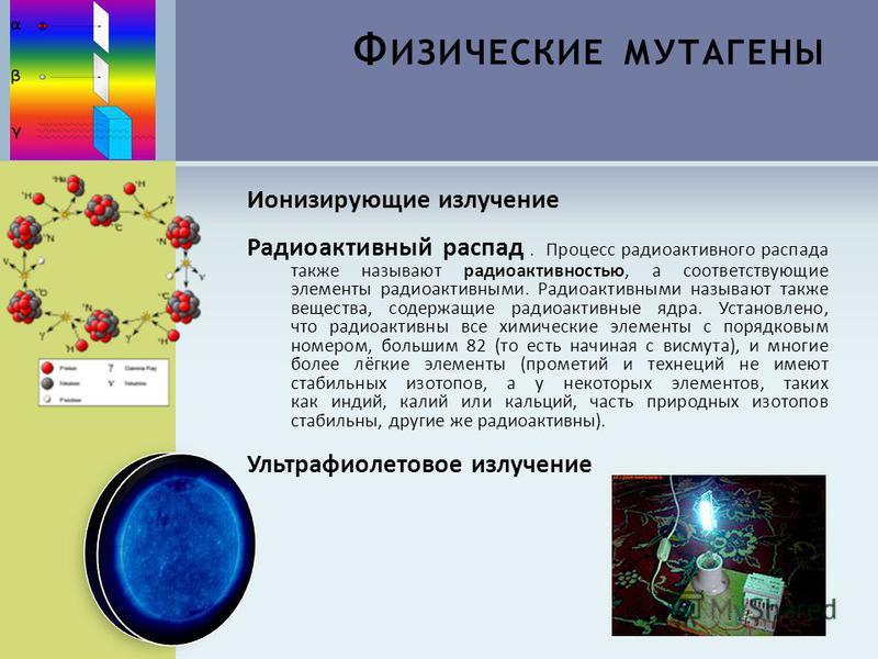 Ф ИЗИЧЕСКИЕ МУТАГЕНЫ Ионизирующие излучение Радиоактивный распад. Процесс радиоактивного распада также называют радиоактивностью, а соответствующие элементы радиоактивными. Радиоактивными называют также вещества, содержащие радиоактивные ядра. Устано