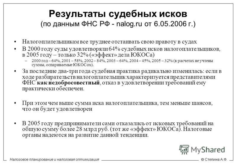 Налоговое планирование и налоговая оптимизация Степина А.Ф. Результаты судебных исков (по данным ФНС РФ - nalog.ru от 6.05.2006 г.) Налогоплательщикам все труднее отстаивать свою правоту в судах В 2000 году суды удовлетворяли 64% судебных исков налог