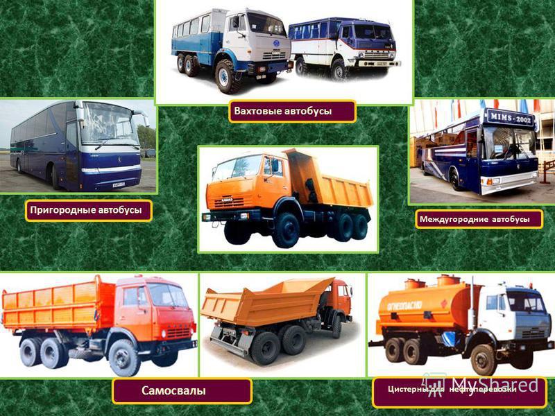 Вахтовые автобусы Пригородные автобусы Междугородние автобусы Самосвалы Цистерны для нефтеперевозки