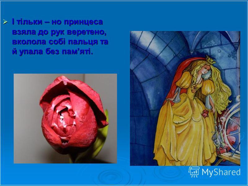 І тільки – но принцеса взяла до рук веретено, вколола собі пальця та й упала без памяті. І тільки – но принцеса взяла до рук веретено, вколола собі пальця та й упала без памяті.