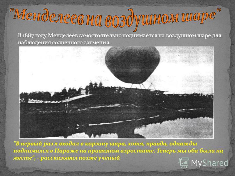 В 1887 году Менделеев самостоятельно поднимается на воздушном шаре для наблюдения солнечного затмения.