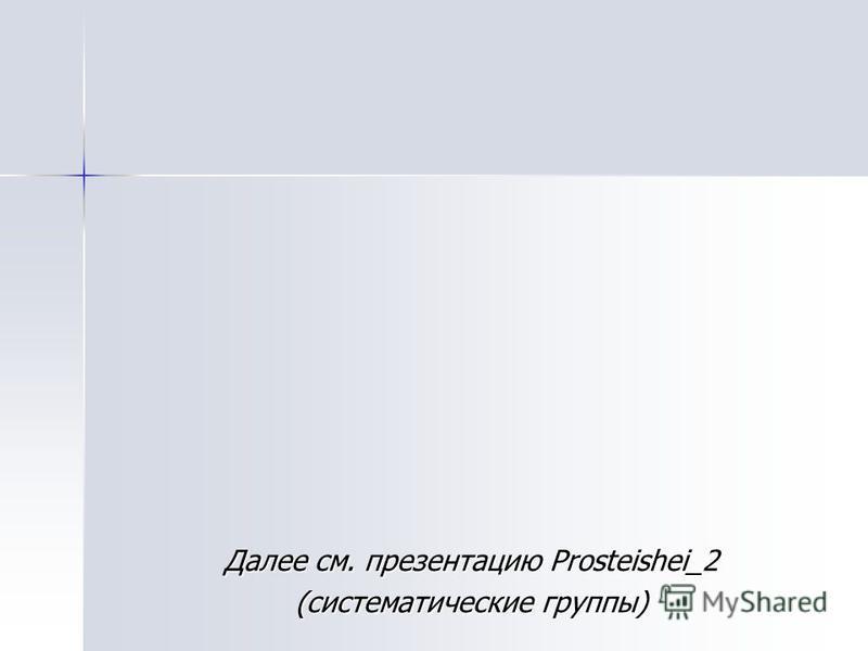 Далее см. презентацию Prosteishei_2 (систематические группы)