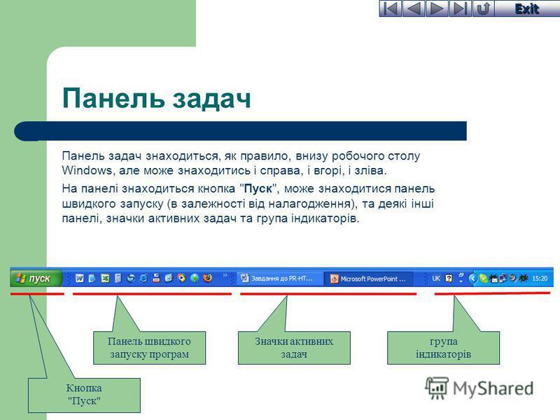 Exit Панель задач Панель задач знаходиться, як правило, внизу робочого столу Windows, але може знаходитись і справа, і вгорі, і зліва. На панелі знаходиться кнопка