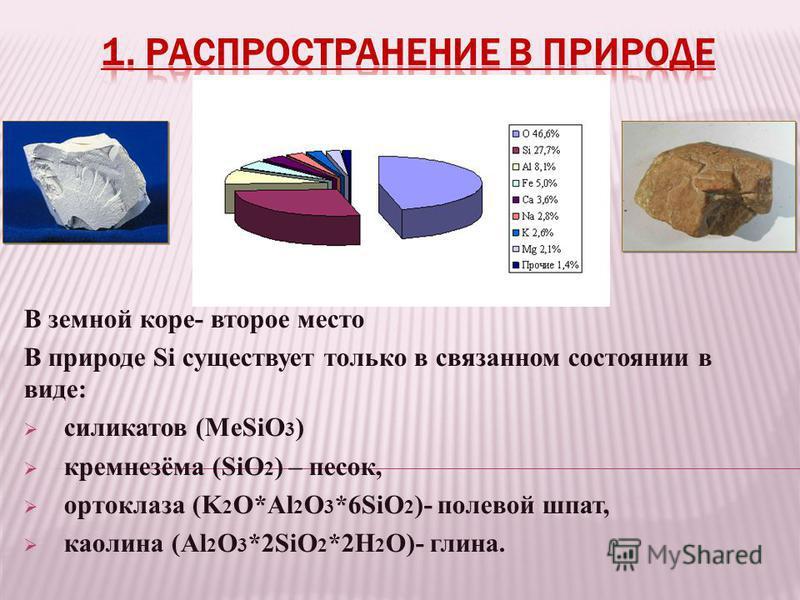 В земной коре- второе место В природе Si существует только в связанном состоянии в виде: силикатов (MeSiO 3 ) кремнезёма (SiO 2 ) – песок, ортоклаза (K 2 O*Al 2 O 3 *6SiO 2 )- полевой шпат, каолина (Al 2 O 3 *2SiO 2 *2H 2 O)- глина.