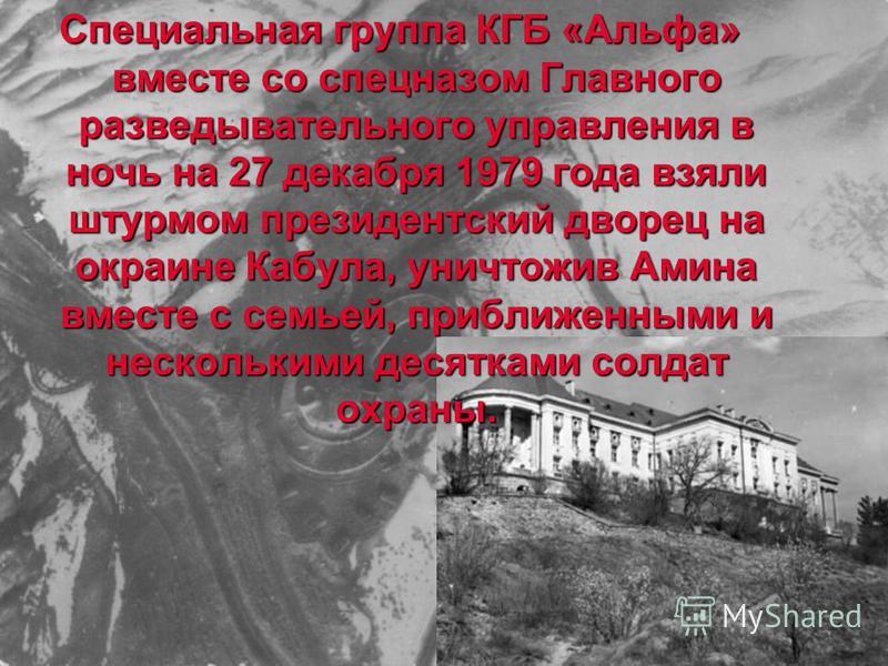 Специальная группа КГБ «Альфа» вместе со спецназом Главного разведывательного управления в ночь на 27 декабря 1979 года взяли штурмом президентский дворец на окраине Кабула, уничтожив Амина вместе с семьей, приближенными и несколькими десятками солда