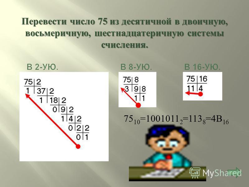 16 8 4 2 1 10101 2 = 1*16+0*8+1*4+0*2+1*1=21 10 64 8 1 753 8 =7*64+5*8+3*1=448+40+3=491 10 256 16 1 4 1 А 16 =4*256+1*16+ А *1=1024+16+10=1050 10