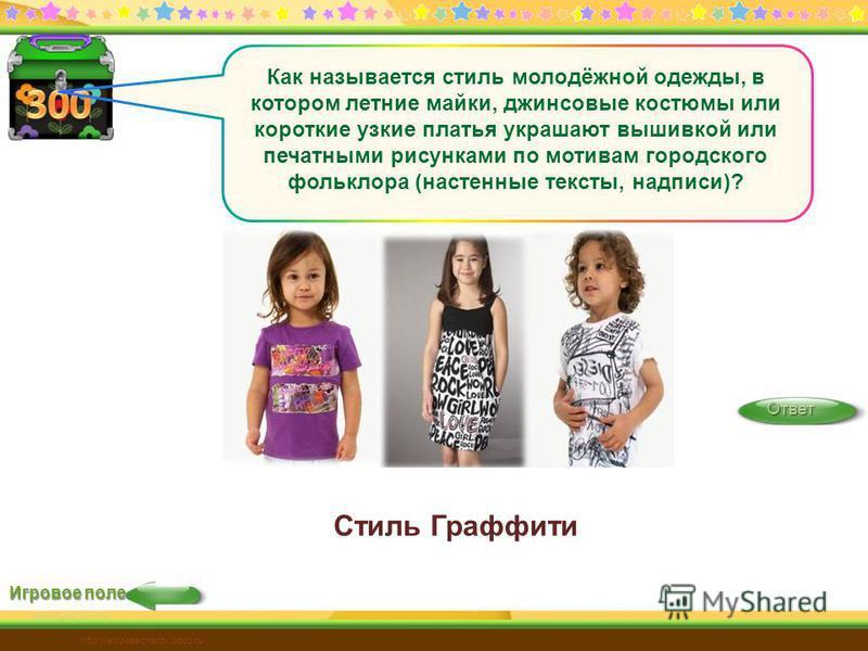 Игровое поле Ответ http://edu-teacherzv.ucoz.ru Как называется стиль молодёжной одежды, в котором летние майки, джинсовые костюмы или короткие узкие платья украшают вышивкой или печатными рисунками по мотивам городского фольклора (настенные тексты, н