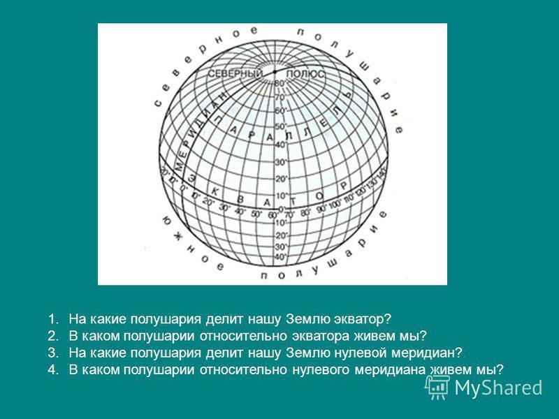 1. На какие полушария делит нашу Землю экватор? 2. В каком полушарии относительно экватора живем мы? 3. На какие полушария делит нашу Землю нулевой меридиан? 4. В каком полушарии относительно нулевого меридиана живем мы?