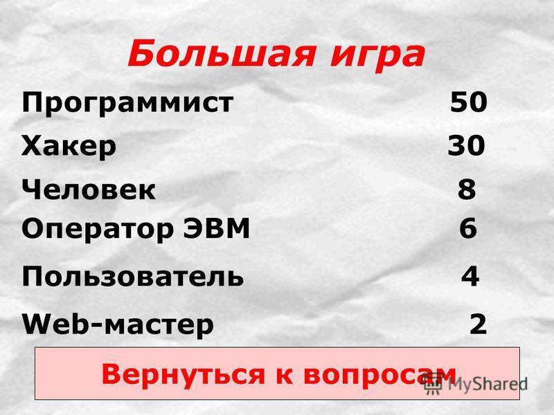 Большая игра Web-мастер 2 Пользователь 4 Программист 50 Хакер 30 Человек 8 Оператор ЭВМ 6 Вернуться к вопросам