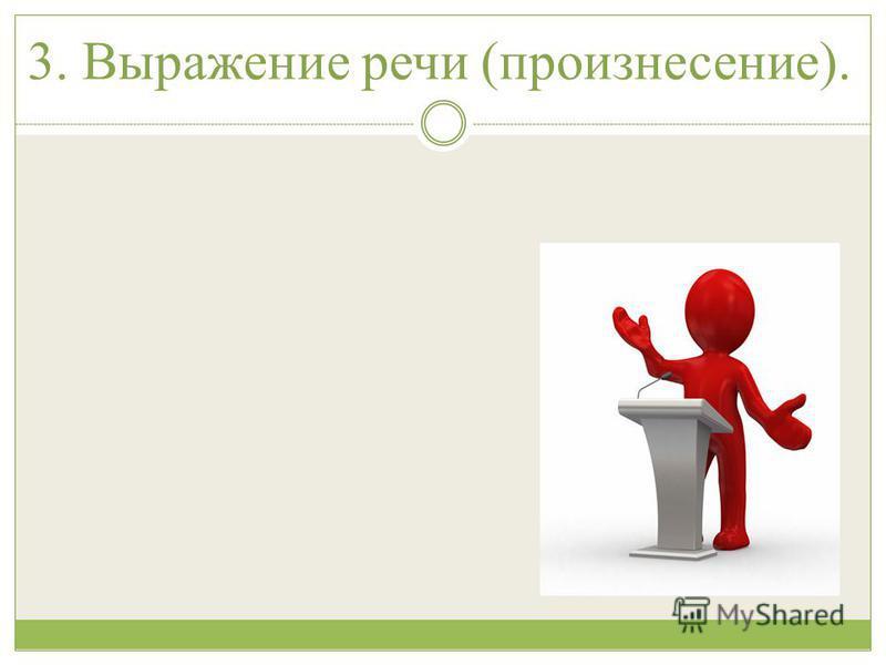 3. Выражение речи (произнесение).