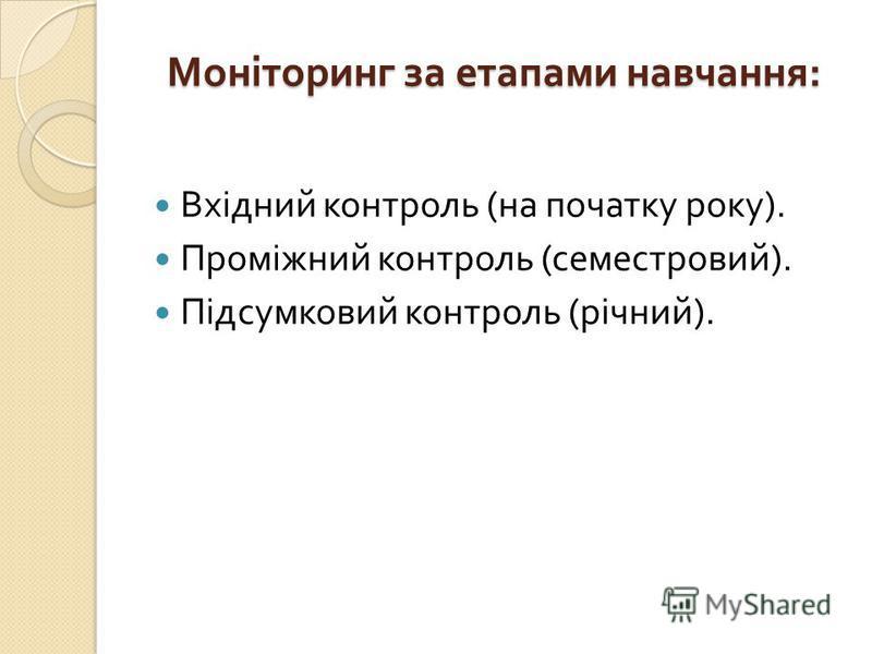 Моніторинг за етапами навчання : Вхідний контроль ( на початку року ). Проміжний контроль ( семестровий ). Підсумковий контроль ( річний ).
