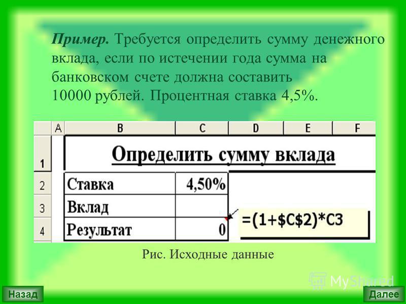 Пример. Требуется определить сумму денежного вклада, если по истечении года сумма на банковском счете должна составить 10000 рублей. Процентная ставка 4,5%. Рис. Исходные данные Далее Назад