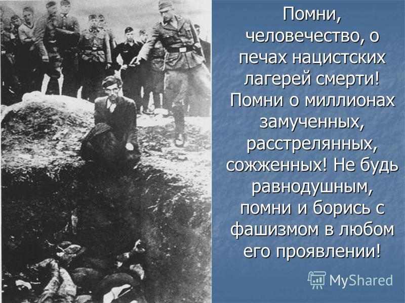 Помни, человечество, о печах нацистских лагерей смерти! Помни о миллионах замученных, расстрелянных, сожженных! Не будь равнодушным, помни и борись с фашизмом в любом его проявлении!