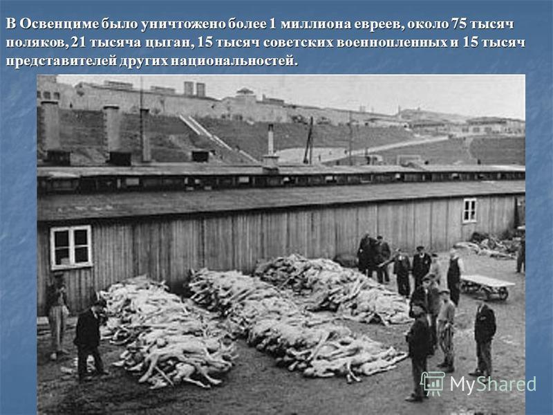 В Освенциме было уничтожено более 1 миллиона евреев, около 75 тысяч поляков, 21 тысяча цыган, 15 тысяч советских военнопленных и 15 тысяч представителей других национальностей.
