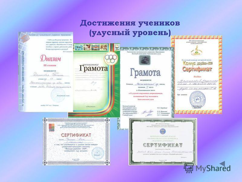 Достижения учеников (улусный уровень)