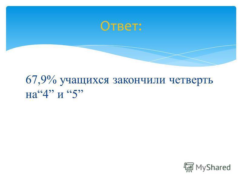 67,9% учащихся закончили четверть на 4 и 5 Ответ: