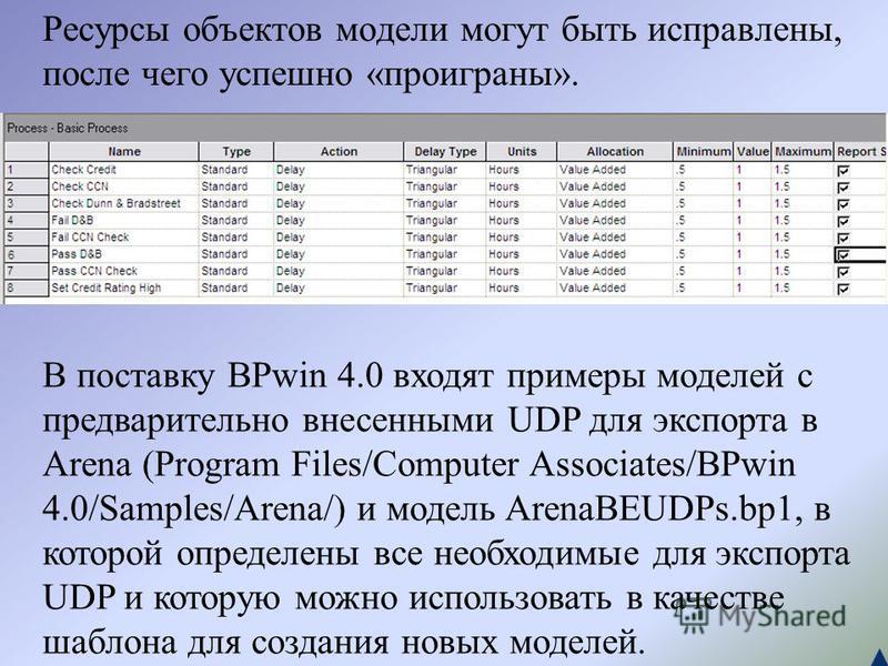 Ресурсы объектов модели могут быть исправлены, после чего успешно «проиграны». В поставку BPwin 4.0 входят примеры моделей с предварительно внесенными UDP для экспорта в Arena (Program Files/Computer Associates/BPwin 4.0/Samples/Arena/) и модель Aren