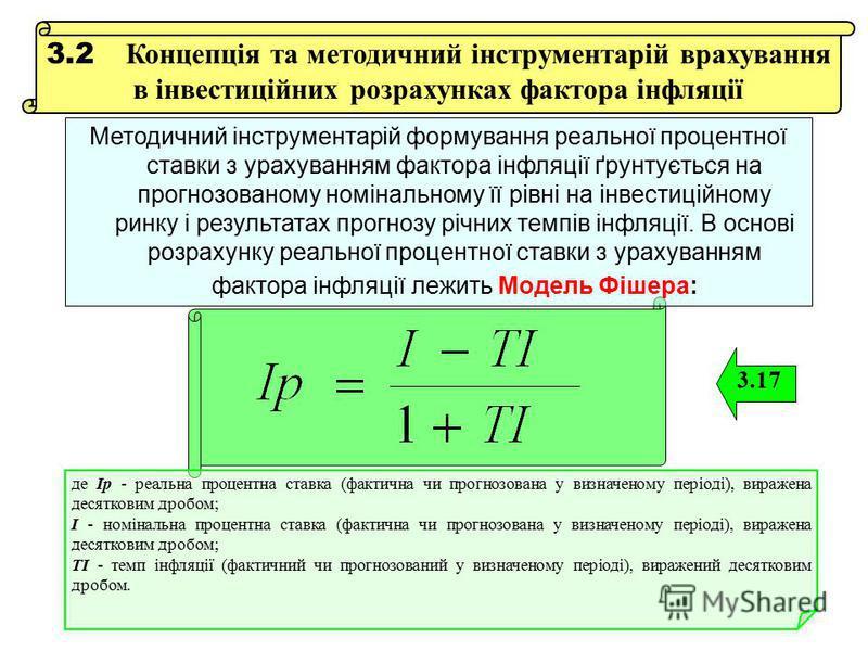 3.2 Концепція та методичний інструментарій врахування в інвестиційних розрахунках фактора інфляції 3.17 де Ір - реальна процентна ставка (фактична чи прогнозована у визначеному періоді), виражена десятковим дробом; І - номінальна процентна ставка (фа