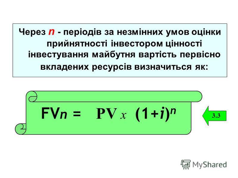 Через n - періодів за незмінних умов оцінки прийнятності інвестором цінності інвестування майбутня вартість первісно вкладених ресурсів визначиться як: FV n = РV х (1+і) n 3.3