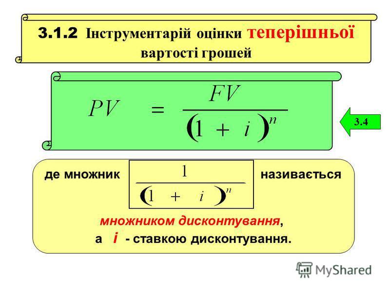 3.1.2 Інструментарій оцінки теперішньої вартості грошей 3.4 де множник називається множником дисконтування, а і - ставкою дисконтування.