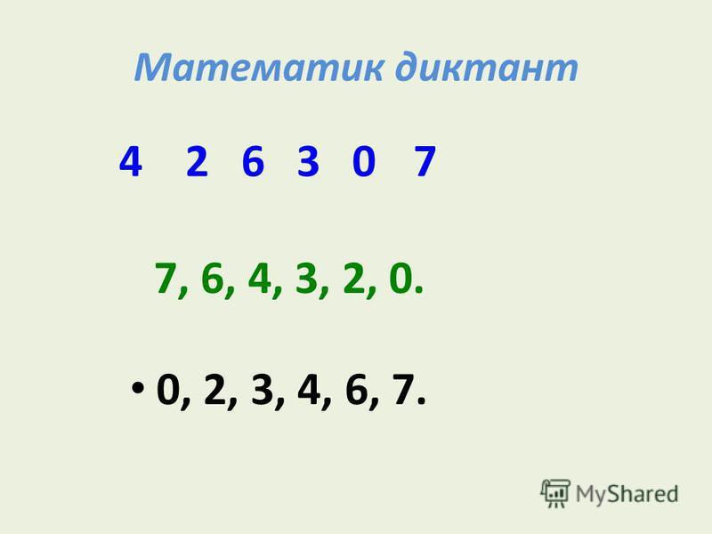 Математик диктант 0, 2, 3, 4, 6, 7. 7, 6, 4, 3, 2, 0. 462073