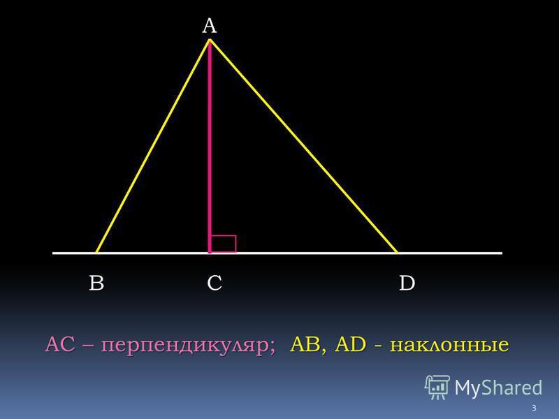 А ВСD АС – перпендикуляр; АВ, AD - наклонные 3