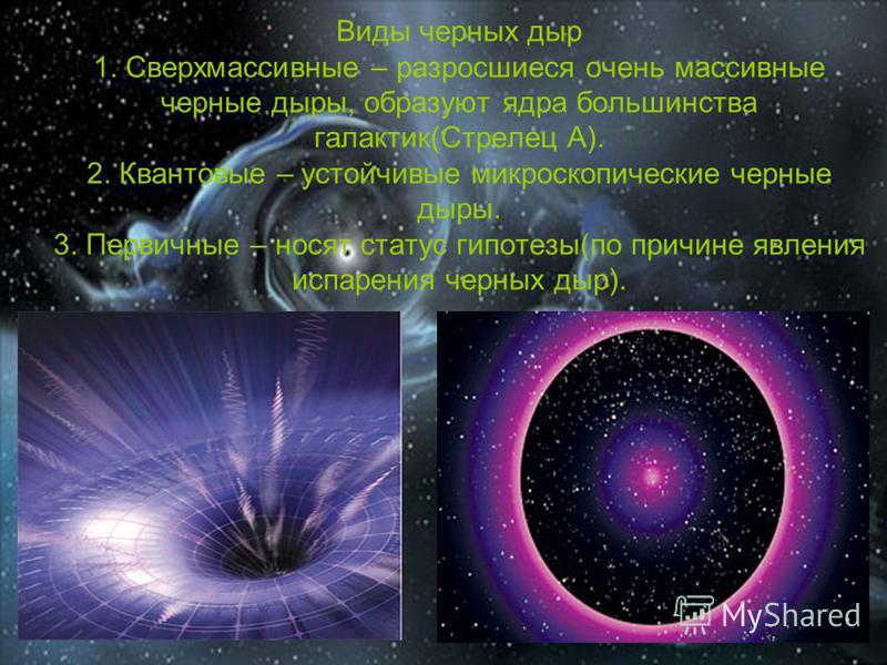 Виды черных дыр 1. Сверхмассивные – разросшиеся очень массивные черные дыры, образуют ядра большинства галактик(Стрелец А). 2. Квантовые – устойчивые микроскопические черные дыры. 3. Первичные – носят статус гипотезы(по причине явления испарения черн