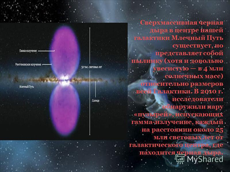 Сверхмассивная черная дыра в центре нашей галактики Млечный Путь существует, но представляет собой пылинку (хотя и довольно увесистую в 4 млн солнечных масс) относительно размеров всей Галактики. В 2010 г. исследователи обнаружили пару «пузырей», исп