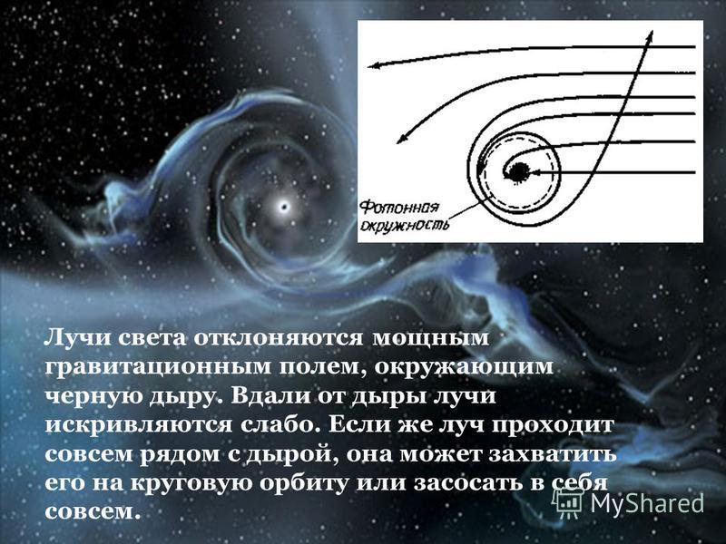Лучи света отклоняются мощным гравитационным полем, окружающим черную дыру. Вдали от дыры лучи искривляются слабо. Если же луч проходит совсем рядом с дырой, она может захватить его на круговую орбиту или засосать в себя совсем.