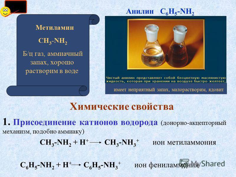 Химические свойства 1. Присоединение катионов водорода (донорно-акцепторный механизм, подобно аммиаку) СН 3 -NH 2 + Н + СН 3 -NH 3 + ион метиламмония С 6 Н 5 -NH 2 + Н + С 6 Н 5 -NH 3 + ион фениламмония имеет неприятный запах, малорастворим, ядовит А