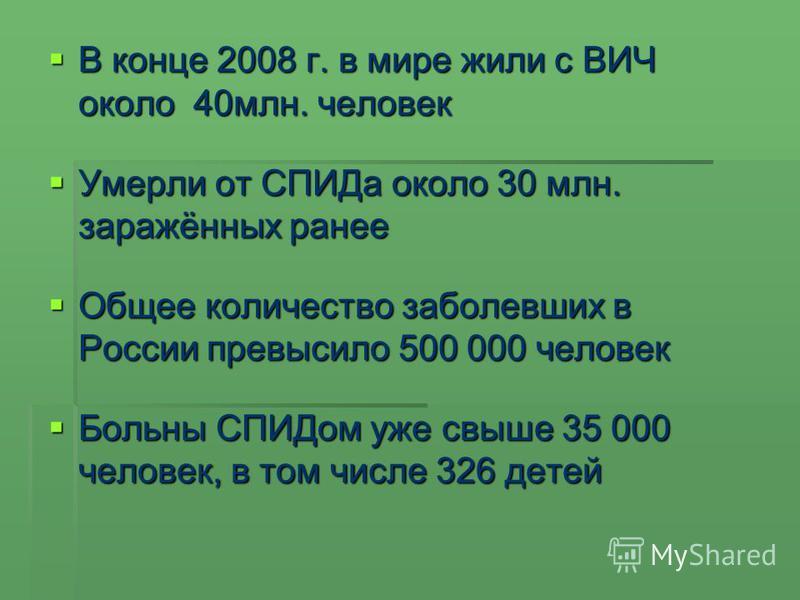 В конце 2008 г. в мире жили с ВИЧ около 40 млн. человек В конце 2008 г. в мире жили с ВИЧ около 40 млн. человек Умерли от СПИДа около 30 млн. заражённых ранее Умерли от СПИДа около 30 млн. заражённых ранее Общее количество заболевших в России превыси