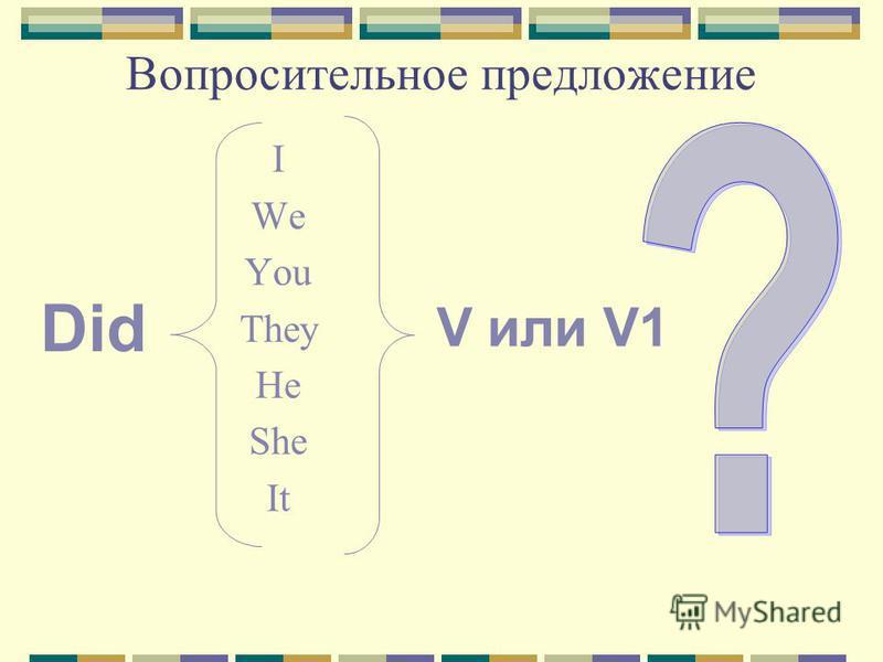 Вопросительное предложение I We You They He She It Did V или V1