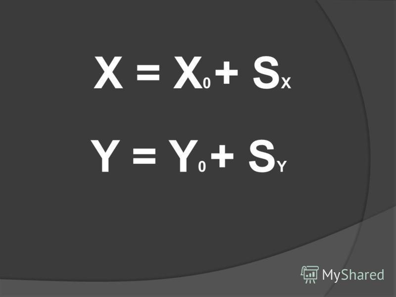 Y = Y 0 + S Y X = X 0 + S X