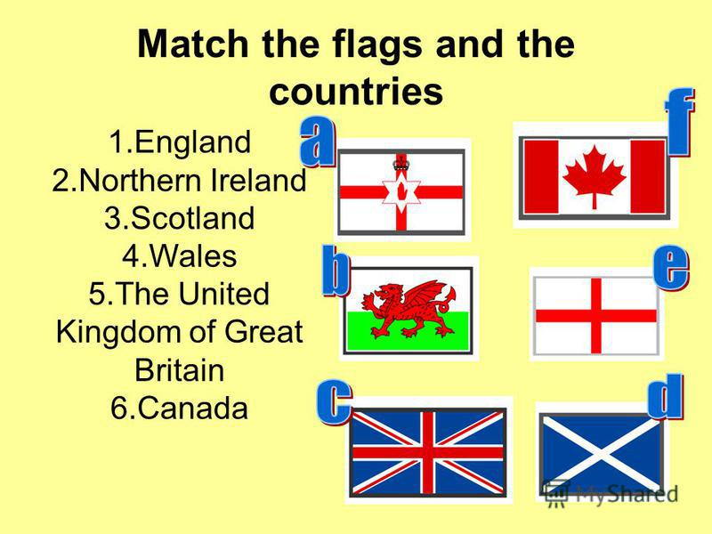 Match the flags and the countries 1.England 2.Northern Ireland 3.Scotland 4.Wales 5.The United Kingdom of Great Britain 6.Canada