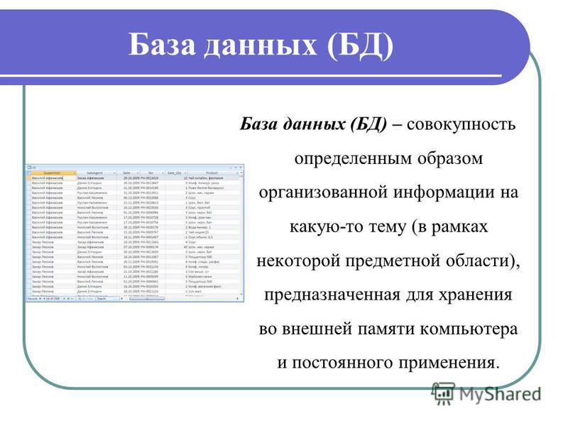 База данных (БД) База данных (БД) – совокупность определенным образом организованной информации на какую-то тему (в рамках некоторой предметной области), предназначенная для хранения во внешней памяти компьютера и постоянного применения.