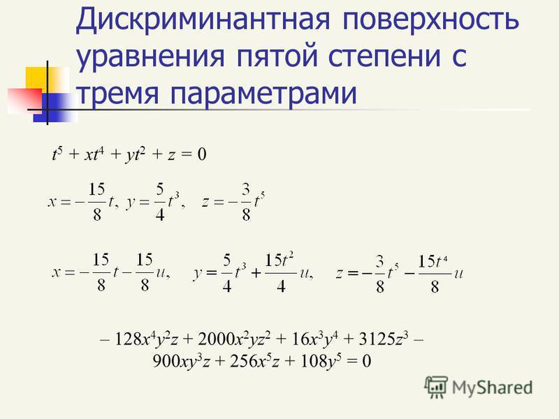 Дискриминантная поверхность уравнения пятой степени с тремя параметрами t 5 + xt 4 + yt 2 + z = 0 – 128x 4 y 2 z + 2000x 2 yz 2 + 16x 3 y 4 + 3125z 3 – 900xy 3 z + 256x 5 z + 108y 5 = 0