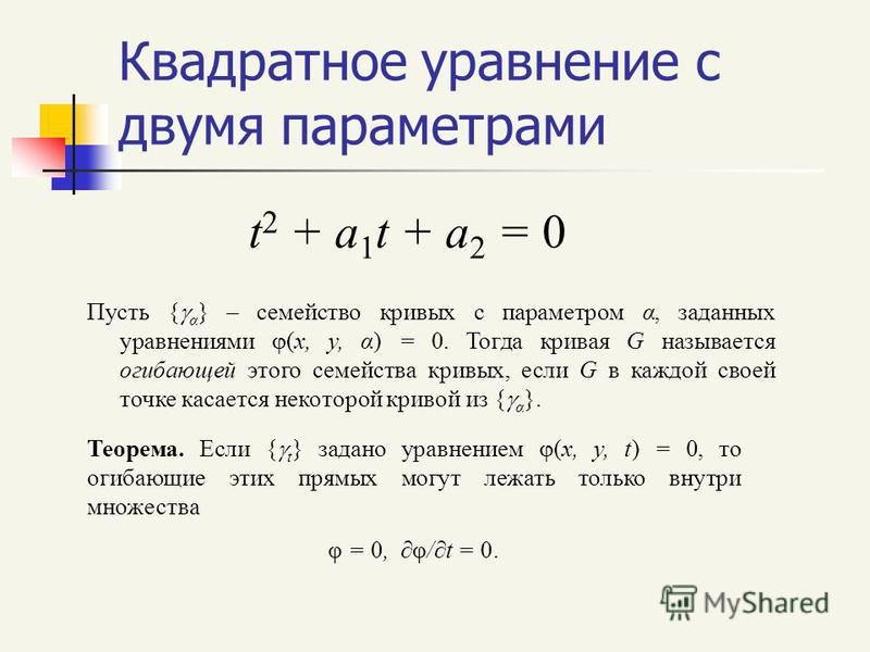 Квадратное уравнение с двумя параметрами t 2 + a 1 t + a 2 = 0 Пусть { α } – семейство кривых с параметром α, заданных уравнениями (x, y, α) = 0. Тогда кривая G называется огибающей этого семейства кривых, если G в каждой своей точке касается некотор