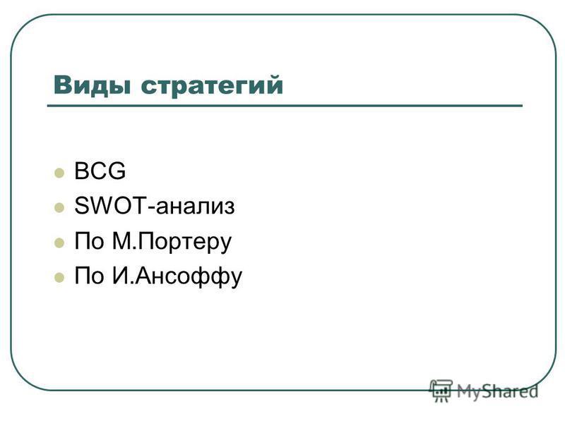 Виды стратегий BCG SWOT-анализ По М.Портеру По И.Ансоффу