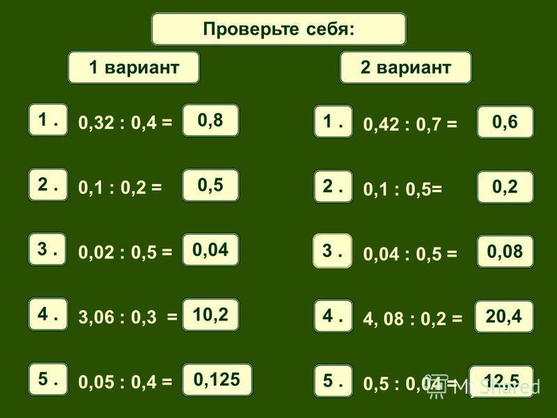 Математический диктант Проверьте себя: 1. 0,32 : 0,4 = 0,8 2. 0,1 : 0,2 = 0,5 3. 0,02 : 0,5 = 0,04 4. 3,06 : 0,3 = 10,2 5. 0,05 : 0,4 = 0,125 1 вариант 1. 0,42 : 0,7 = 0,6 2. 0,1 : 0,5= 0,2 3. 0,04 : 0,5 = 0,08 4. 4, 08 : 0,2 = 20,4 5. 0,5 : 0,04 = 1