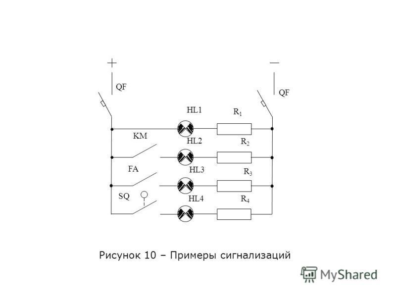 Рисунок 10 – Примеры сигнализаций HL1 HL2 HL3 HL4 R1R1 R3R3 R4R4 R2R2 KM SQ FA QF