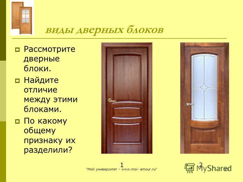 виды дверных блоков Рассмотрите дверные блоки. Найдите отличие между этими блоками. По какому общему признаку их разделили? 1 2 13Мой университет - www.moi- amour.ru
