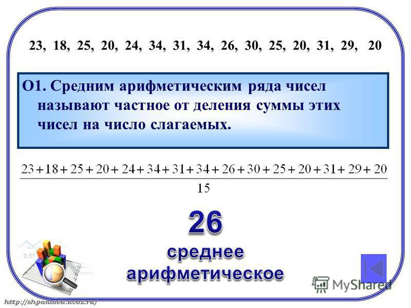 23, 18, 25, 20, 24, 34, 31, 34, 26, 30, 25, 20, 31, 29, 20 О1. Средним арифметическим ряда чисел называют частное от деления суммы этих чисел на число слагаемых.